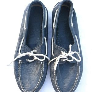 Sperry Mens 15 Top Sider Navy Leather Boat Shoes